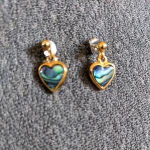 Heart shaped Paua Shell earrings